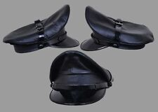 Genuine Real Leather Black Army Muir Biker Peaked Police Gay Military Cap  Hat d2f3e52764b