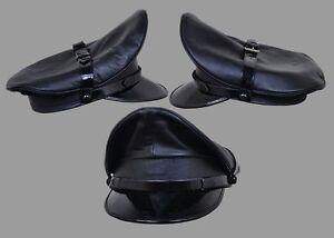 Genuine Real Leather Black Army Muir Biker Peaked Police Gay Bluf Cap Hat