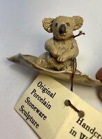 "Koala on Gum Leaf Stoneware Handcrafted  Figurine Jennifer Black WA 1""x3"""