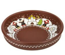 Christmas Winter Pattern Round Ceramic Baking Dish Clay Oven Plate 8""
