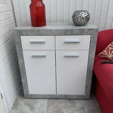 Grey Side Cabinet Concrete Look Furniture Small White Sideboard Storage Unit
