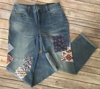 NWT Chico's Sz 00 So Slimming Patches Girlfriend Crop Jeans 28in waist US 4/6