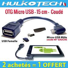 Cable Adaptateur Micro Usb OTG Host Coudé pour Sony Xperia U / V / Z / Z Ultra