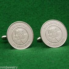 Mythical Giant Icelandic Coin Cufflinks, Iceland 1 Krona