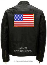 American Flag embroidered Biker Vest Patch Large iron-on Us Usa Patriotic Emblem
