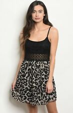 NWT Large womens Sexy Leopard Summer Boutique Cocktail Mini Dress USA