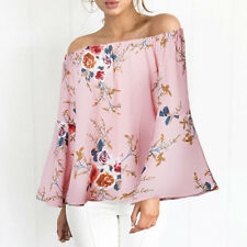 Women Floral Off Shoulder T-shirt Blouse Long Sleeve Loose Casual Tops Pullover