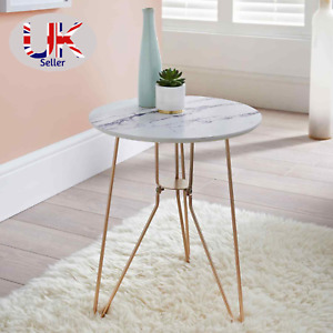 Patina Marble Effect Side Table With Gold Finish Metal Legs Living Room Decor