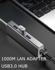 4Ports USB 3.0 HUB+Gigabit Ethernet Lan RJ45 Network Adapter for PC/Windows/Linu