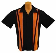 Mens Sz LARGE Bowling Shirts Charlie Sheen Retro Vintage Harley Orange