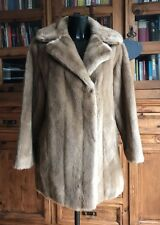 Vintage Faux Simulated Fur Coat / Jacket Ladies Woman's Mid Light Brown Tissavel