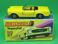 Matchbox Lesney Superfast No.27d Mercedes 230SL In Rarer Type H1 With 'NEW' Box