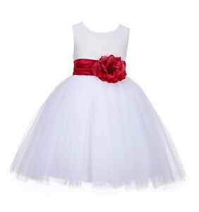 Lace Embroidery White Flower Girl Dresses Toddler Easter Halloween Communion 118