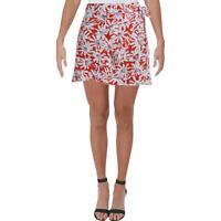 Aqua Womens Ruffled Floral Wrap Mini Wrap Skirt BHFO 5653