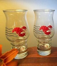 2 Maine Red Lobster Restaurant Stackable 18 oz Hurricane Glass Tumblers- Two