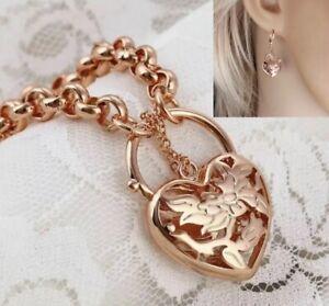"""9ct/9k Rose """"Gold Filled""""Heart Belcher Chain Bracelet & Earrings(Set) free Pouch"""