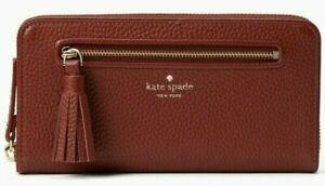 Kate Spade Neda Brown Leather Wallet Ziparound Tassel WLRU2654 NWT $189 MSRP FS