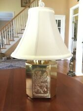 Vintage Chinese Incised Brass Tea Canister Table Lamp