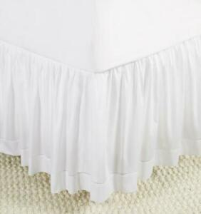 SFERRA FIONA COTTON SATEEN GATHERED BED SKIRT IN WHITE, IVORY, ADJUSTABLE HEIGHT