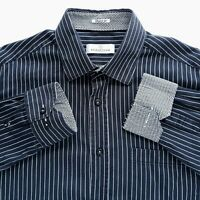 Bugatchi Uomo Mens Sz XL Shaped Fit Button Up Black and White Striped Shirt EUC