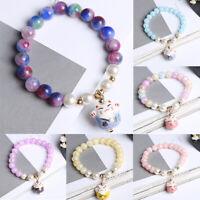 Frauen Lucky Cat Crystal Charm Manschette Armreif Perlen handgefertigte ArmbäXUI