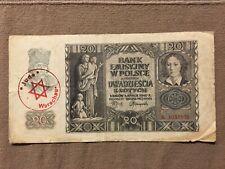 Warsaw 1940 Warschau Jewish Ghetto Banknote 20 zł