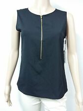 NEW FAST to AUS - Calvin Klein - Sleeveless Zipper-Front Blouse - Size S - Black