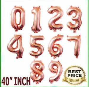 """40"""" Giant NUMBERS 0-9 ROSE GOLD FOIL BALLOONS Inflating/Helium Birthday dec"""