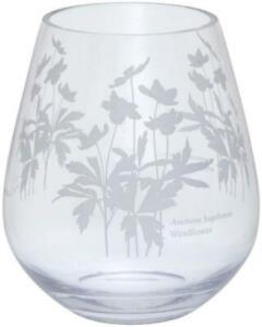 Dartington Crystal Bloom wide vase windflower anemone flower etched glass 16.5cm