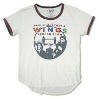 Paul McCartney Trunk LTD Wings London Womens White Ringer T Shirt New Official