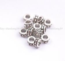 20/50/100Pcs Tibetan Silver Tube Big Hole Spacer Beads Jewelry Findings