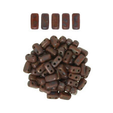 50 CzechMates Bricks Umber Copper Picasso Two Hole Beads 3x6mm