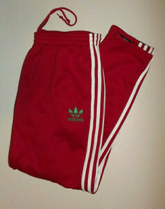 ADIDAS RED & WHITE  MENS  WarmUp Pants Men's  SIZE LARGE   P732