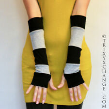 Grey Black Striped Patchwork Cotton Arm Warmers Cycling Elbow Yoga Gloves 1028