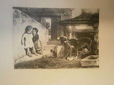 Planche gravure Enfants effrayés par une chienne Par Gabriel Alexandre Decamps
