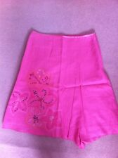 Next Skirt Size 14 New Pink Linen Embroidery Sequins Fully Lined