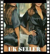 Ladies Kimono Lace Satin Sexy Lingerie Night Gown Plus Size Lingerie Set
