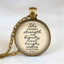 BIBLE Verse Quote Pendant Necklace, She Is Clothed In Strength, Proverbs 31:25,