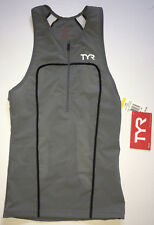 Tyr Men's Xs Gray White Black Front Zip Triathlon Singlet Tank Usa Carbon New