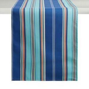 "Waverly Blue Striped Table Runner Indoor Outdoor Beach Summer House 13x72"""