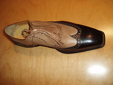 Two tone all leather wing tip dress shoes for men-made in italy