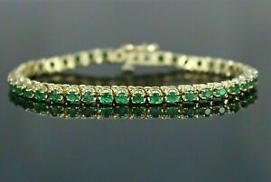 "10 Ct Round Cut Green Emerald 7"" Tennis Bracelet 14k Yellow Gold Finish"
