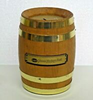 Vintage Wood Barrel Advertising Coin Bank Genesee Merchant Bank Combination