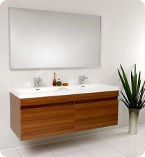 Fresca Largo Teak Modern Bathroom Vanity w/ Wavy Double Sink, Faucets & Mirror