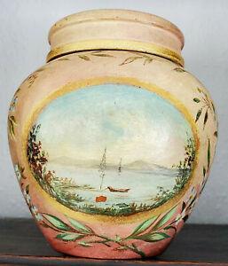 19th Century American FOLK ART PAINTED REDWARE JAR - Ships