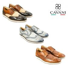 Mens Cavani Punched Leather Brogues Lace Up Casual Shoes Trainers Footwear