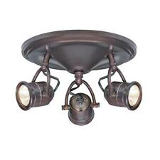 3-Light Track Lighting Antique Bronze Round-Base Pinhole Ceiling Fixture Spot