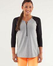 "LULULEMON SPIN CITY 1/2 ZIP Shirt 3/4 Sleeve GREY/ GRAY Black Womens Size 4? 32"""