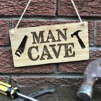 Man Cave Plaque Personalised Oak Wooden Sign Gift Idea DIY Shed Garage Workshop