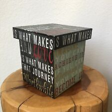 "Decorative Box w/ Lid Printed Canvas on Wood 5.5"" x 5.5"" x 5.75"""